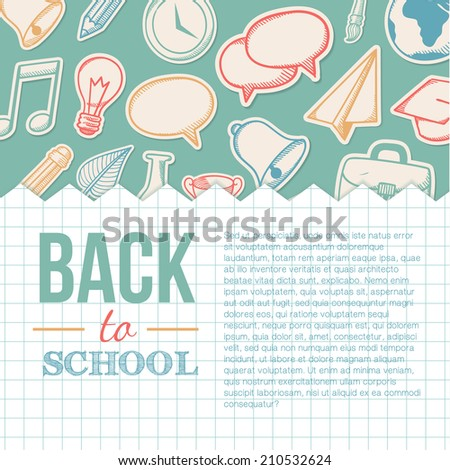 Welcome back to school. Education sketchy background. Doodle style. Eps 10 vector illustration. - stock vector