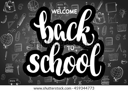 welcome back school hand brush lettering stock vector royalty free