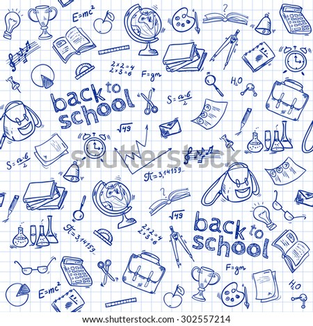 Welcome back to school seamless pattern with hand drawn doodle elements.  Vector illustration.