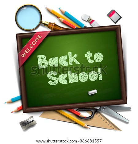 Welcome back to school template, chalkboard and school supplies, vector illustration.