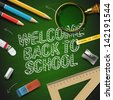 Welcome back to school, vector Eps10 illustration. - stock photo