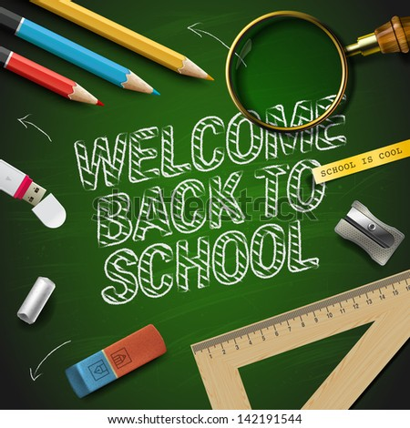 Welcome back to school, vector Eps10 illustration. - stock vector