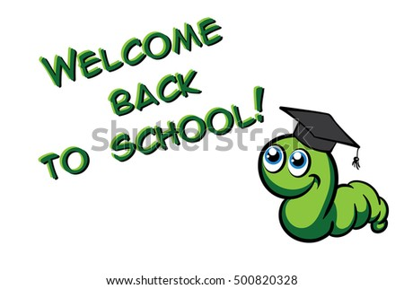 Welcome back to school. Vector green bookworm in the hat on white background
