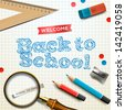 Welcome back to school, vector illustration. - stock photo