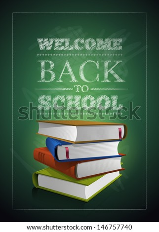 Welcome back to school. Vector illustration.  Elements are layered separately in vector file. Easy editable. - stock vector