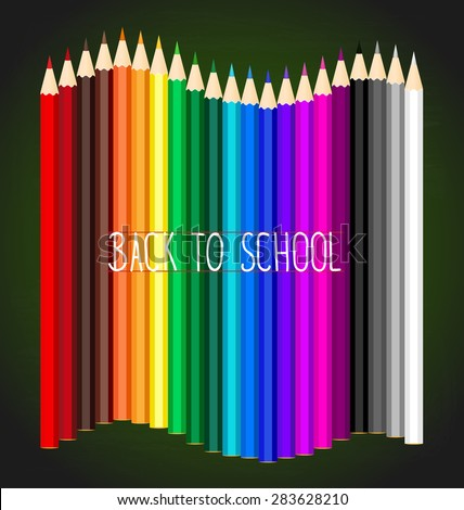 Welcome back to school with Color pencils background, vector illustration. - stock vector