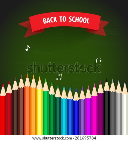 Welcome back to school with colour pencils background, vector illustration. - stock vector