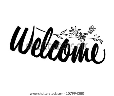 Welcome Banner - Retro Clipart Banner - stock vector
