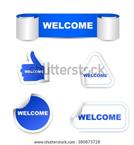 welcome, blue vector welcome, blue sticker welcome, set stickers welcome, element welcome, sign welcome, design welcome, picture welcome , welcome eps10 - stock vector