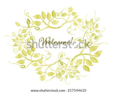 Welcome card. Floral wreath watercolor hand drawn. Spring or summer design for invitation, wedding or greeting cards. Eps10 - stock vector