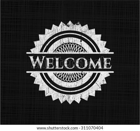 Welcome chalkboard emblem written on a blackboard - stock vector