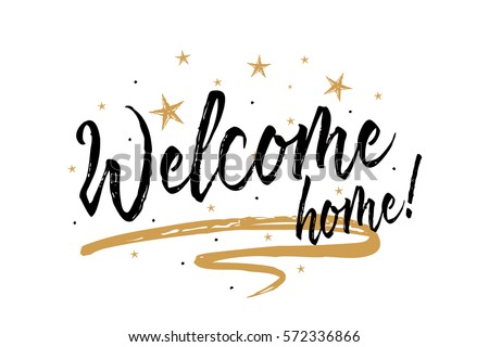 home design card. Welcome home  Beautiful greeting card scratched calligraphy black text word gold stars Hand drawn Home Greeting Card Scratched Stock Vector