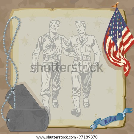 Welcome Home Hero Military Party Invitation  Loosely drawn American Flag, dog tags, and vintage military men against grungy old paper with a camouflage background.