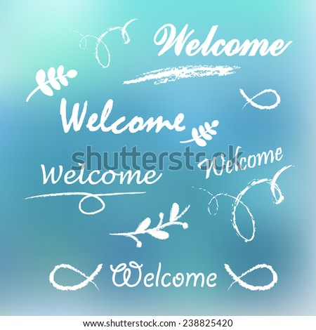 Welcome lettering - stock vector