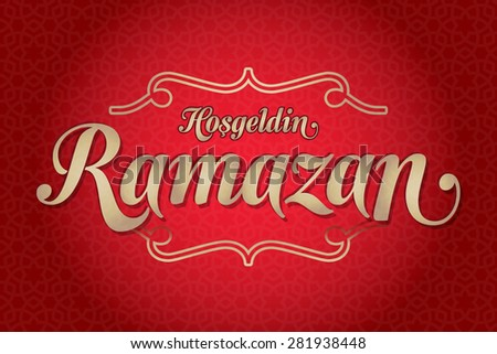 Welcome Ramadan (Turkish: Hosgeldin Ramazan) greeting card. Holy month of muslim community Ramazan background with hanging arabic pattern. Red background - stock vector