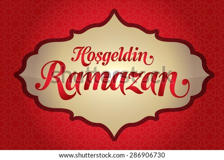 Welcome Ramadan (Turkish: Hosgeldin Ramazan) greeting card. Holy month of muslim community Ramazan background with hanging arabic ornament. Red background - stock vector