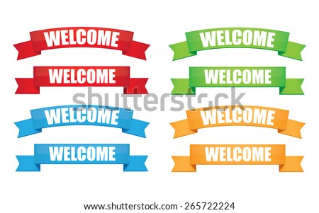Welcome ribbon - stock vector