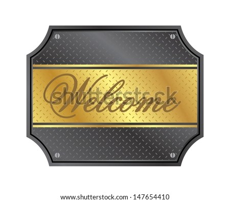 welcome sign metal gold plate