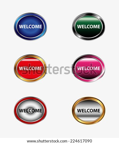 Welcome sign set  - stock vector