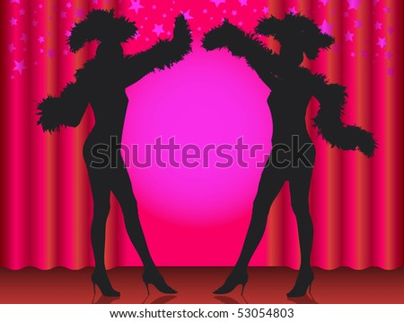 Welcome! Silhouette of two showgirls in cabaret. - stock vector