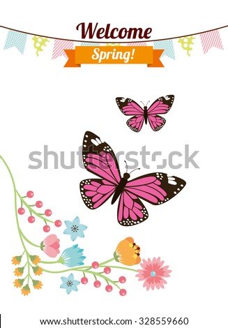 welcome spring design, vector illustration eps10 graphic