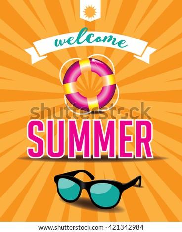Welcome summer design. EPS 10 vector. - stock vector