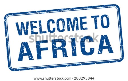 welcome to Africa blue grunge square stamp