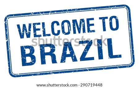 welcome to Brazil blue grunge square stamp