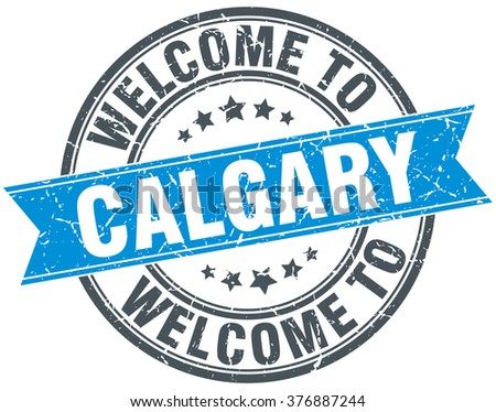 welcome to Calgary blue round vintage stamp
