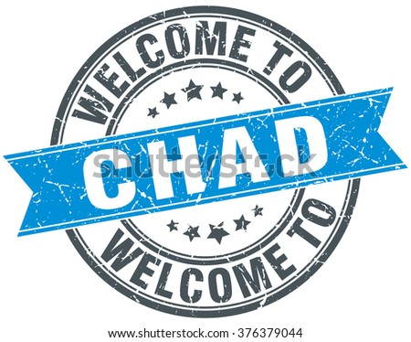 welcome to Chad blue round vintage stamp