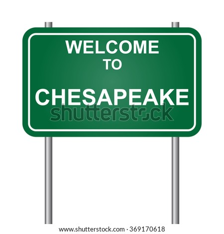 Welcome to Chesapeake, green signal vector - stock vector