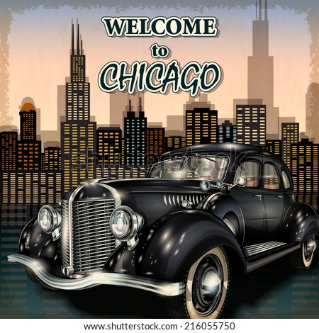 Welcome to Chicago retro poster. - stock vector