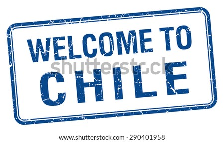 welcome to Chile blue grunge square stamp