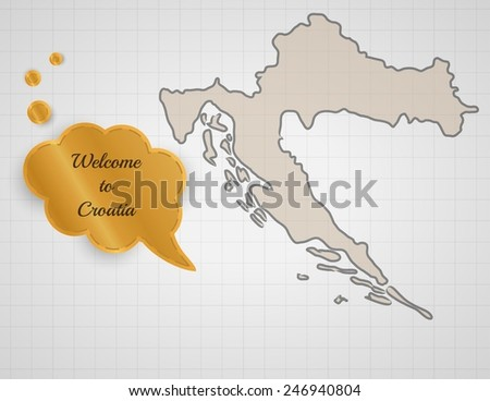 welcome to croatia speak bubble on graph paper - stock vector