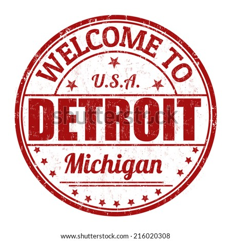 Welcome to Detroit grunge rubber stamp on white background, vector illustration - stock vector
