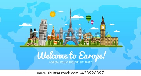 Welcome to Europe travel on the world concept traveling flat vector illustration. Worldwide traveling. Europe landmarks. Famous European buildings. European architecture in a cartoon style. Europa.