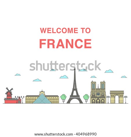Welcome to France banner with colored illustrations of famous Parisian landmarks: Moulin rouge, Louvre, Eiffel tower, Notre dame cathedral and triumphal arch. - stock vector