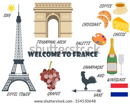 Eiffel Tower Illustration French Restaurant Menu | ????