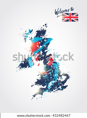 Welcome to Great Britain. Colorful Great Britain map flag with paint splashes. Vector illustration