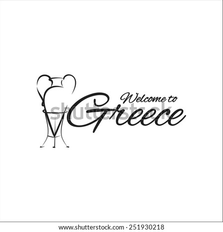 Welcome to Greece Amphora - stock vector