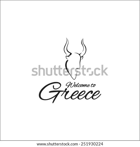 Welcome to Greece Minotaur - stock vector