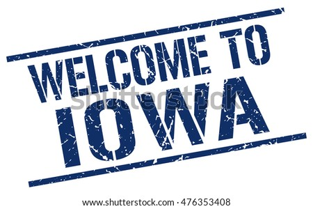 welcome to. Iowa. stamp