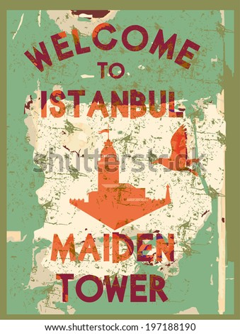 welcome to istanbul maiden tower vector art - stock vector