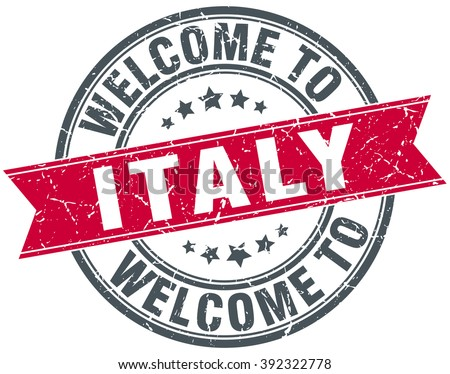 welcome to Italy red round vintage stamp - stock vector