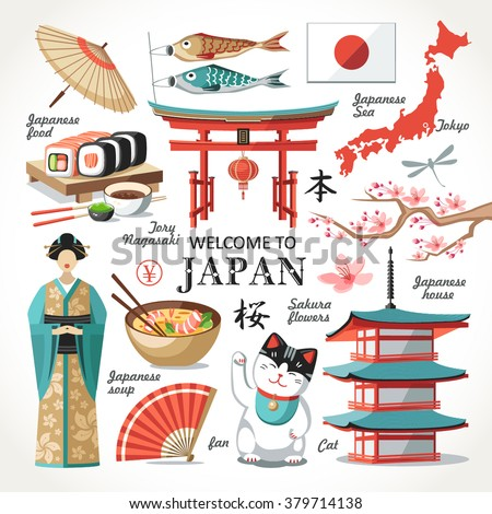 welcome to Japan capital set red collection  - stock vector