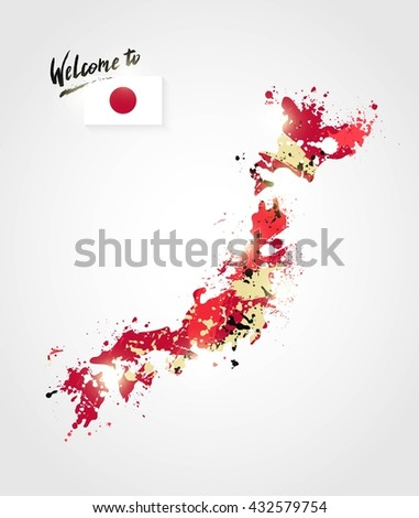 Welcome to Japan card. Colorful Japan map isolated with flag and paint splashes. Travel concept. Vector illustration - stock vector