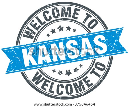 welcome to Kansas blue round vintage stamp