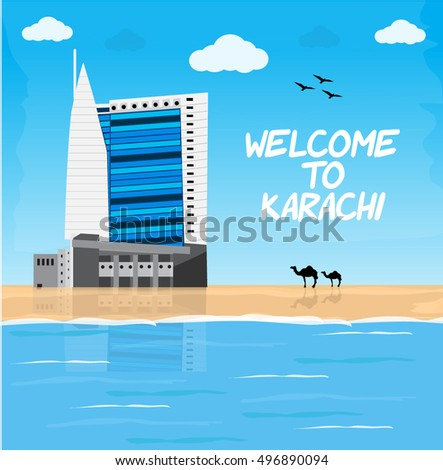 Welcome to Karachi. Famous Landmark Vector Illustration.