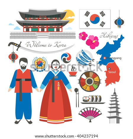 welcome to Korea traditional symbols collection - stock vector
