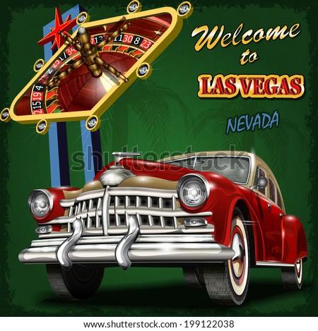 Welcome to Las Vegas retro poster. - stock vector